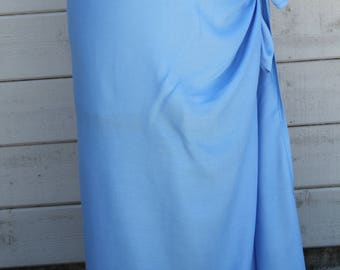 Light Sky Blue Pareo-Full and half sized-rayon- small, sarong, fringe removed, Tahitian costume skirt