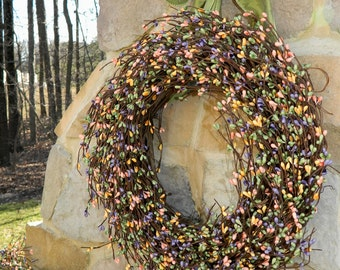 Spring Wreath - Outdoor Wreath - Berry Wreath - Mothers Day Gift