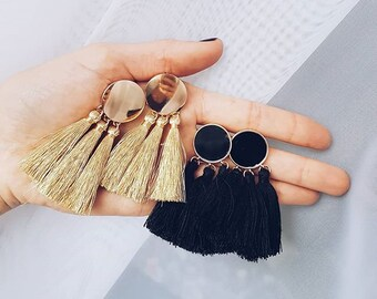 Tassel Earrings Black | Statement Earrings with Circle and Gold Coloured Details