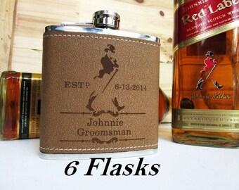 6 Leather Groomsman Flask - Personalized liquor Flask - Groomsman Gift