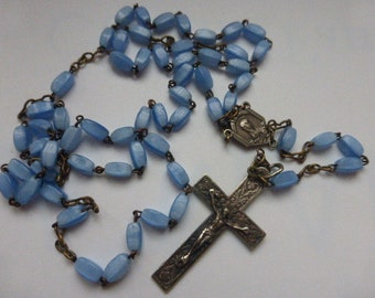 Rosary Opaline Blue Glass, French Circa 1940's