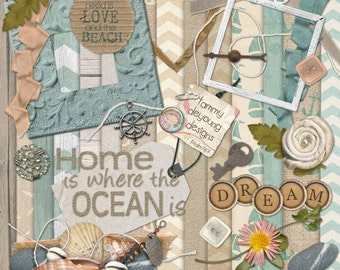 Beach Scrapbook Kit 2, nautical digital papers & ocean clip art, sea shore theme for invitations, weddings, scrapbooks, cards, shabby decor