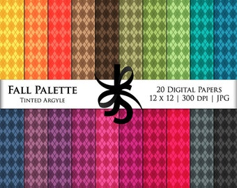 Digital Scrapbook Papers-Fall Palette Tinted Argyle-Argyle Patterns-Preppy-Fall Clipart-Wallpapers-Backgrounds-Instant Download Clip Art