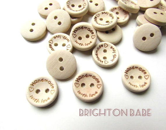 10 Small wooden buttons - Handmade with love buttons 15 mm - Handmade lable buttons - Natural wood buttons - Small wooden buttons. UK SELLER