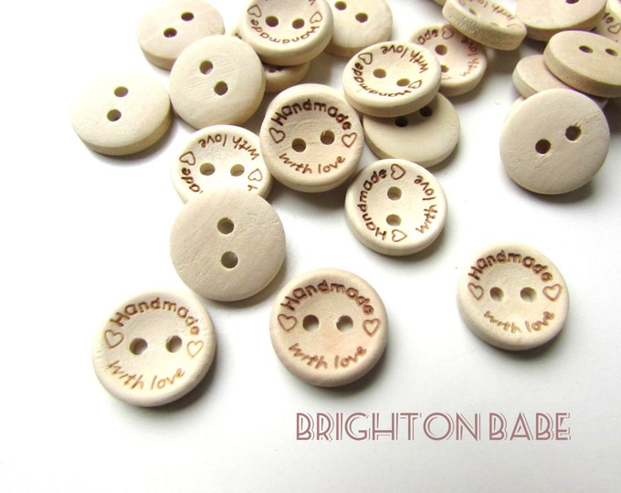 10 Small wooden buttons, Handmade with love natural wood buttons 15 mm, Handmade buttons, Small wooden buttons 1.5 cm, Wood buttons