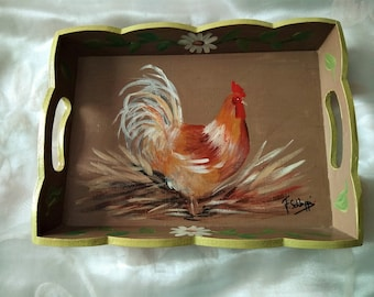 PAINTED WOOD TRAY