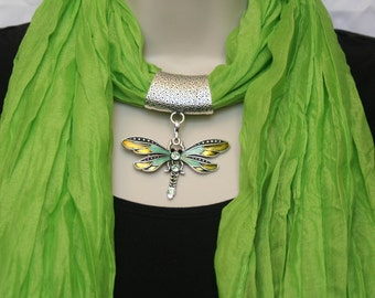 Soft Jeweled Scarf lime green with teal green and yellow metal dragonfly pendant