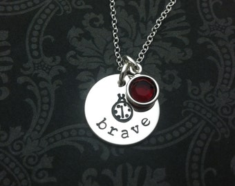 Ladybug Necklace - hand stamped jewelry - 30 percent of proceeds donated to Dina Manzo's Project Ladybug charity for Children with cancer