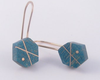 Teal Birdseye Maple and Gold-Filled Inlay Hexagon Earrings