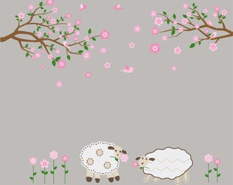 Nursery kids Tree branch set of 2 with lambs flowers and birds vinyl wall art decal