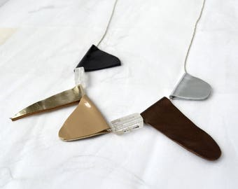 Asymmetric leather necklace/ Geometric necklace.