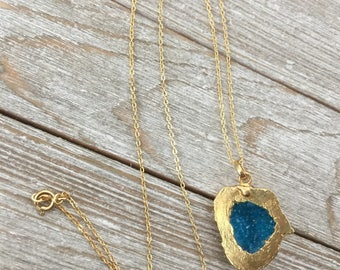Blue Druzy Necklace, Blue and Gold Druzy Nugget Necklace, Geode Druzy, Blue Drusy Necklace, Gold Edged Druzy, Large Druzy Necklace, Crystal