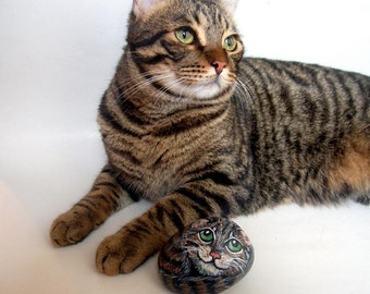 Custom Pets Portrait 3D Painting on Rocks -  Made to Order,  Painted Pet  Memorial Rock Art