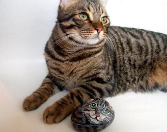 Benutzerdefinierte Haustiere Portrait 3D gemaltes Gemälde auf Felsen - Bestelloptionen, Pet-Memorial Rock