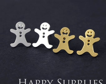 Nickel Free High Quality XmasGingerbreadMan Dual-used Golden/Silver/Rose Gold Brass Earring Post Finding with Ear Studs Back Stopper(ZEN019)