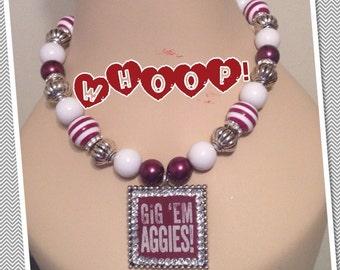 Texas A&M Gig'em Aggies on Beaded Necklace