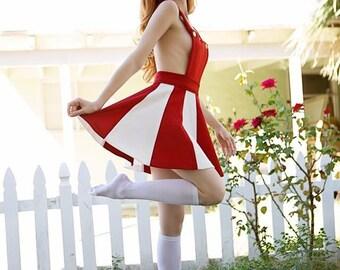 Super amazing vintage cheerleading uniform red and white 70s halloween costume