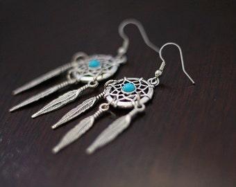 Dream Catcher Earrings - Turquoise & Orange - Southwest Jewelry - Boho Jewelry