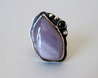 Amethyst Agate Sterling Silver Ring, Jewelry One of a Kind Handmade