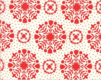 Fabric by the Yard- Handmade- Olivia in Red Cream- by Bonnie and Camille for Moda