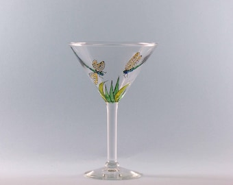 Hand Painted Martini Glass - Hand Painted Dragonfly Martini Glass - Dragonfly Lover Gift