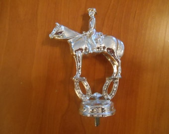 "Silver Tone Metal Horse Pony Trophy Topper English Style Large 4 1/2"" (Inv 9)"