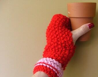 Pink Red Sweetheart Fingerless Gloves