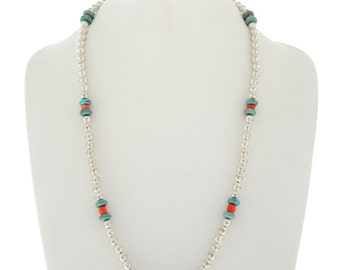Navajo Desert Pearl Necklace with Coral Turquoise Beads