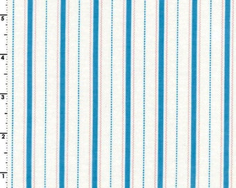 Cream, Pink & Blue Ticking Stripe Fabric, Wide Ticking Quilt Fabric, Maywood Studio Animal Quackers, MAS8828 Q, Blue Stripe Fabric, Cotton