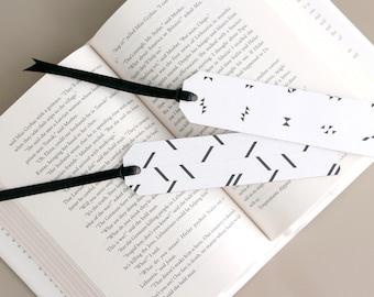 Set of 2 Black & White Geometric Pattern Paper Bookmark with Satin Ribbon