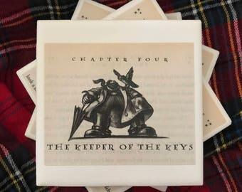 Harry Potter Book Page Tile Coasters - The Keeper of the Keys