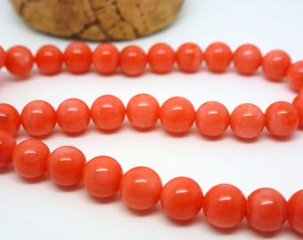 8 dyed coral beads round 6mm orange-pink (8SPC07)