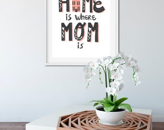 Home is Where Mom is Print, Mother's Day Gift Idea, Mothers Day From Daughter, Birthday Gift Mom, Mothers Day Gift for Grandma, Mom Wall Art