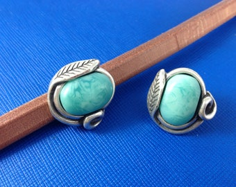 European licorice leather findings - Zamak slider with turquoise resin - Leather bracelet supplies - Silver beads for leather made in Spain