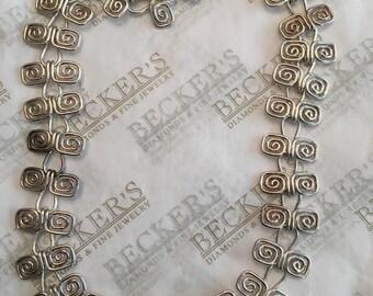 """Vintage sterling silver Squared Open Spiral Link Necklace, 17"""", 45.56 grams"""