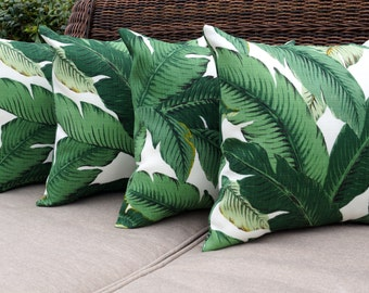SHIPS FAST Green Outdoor STUFFED Indoor Outdoor Pillow, Palm Green Pillow, Tommy Bahama Swaying Palms Aloe Throw Pillow - 4 pack - Free Ship