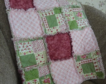 Rag Quilt, Rag Quilt Throw, Patchwork Quilt, Sofa Throw, Lap Throw, Wheelchair Blanket, Patchwork Throw, Mothers Day Gift, Pink Blanket