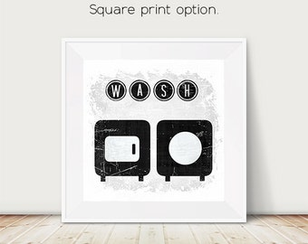 Typography, laundry sign, laundry art, laundry room, black and white, distressed sign, vintage laundry sign