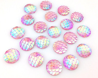 Set of 10 pcs - Mermaid scale cabochon- Resin flatback- Dragon scales- 12 mm Iridescent gem- Pink fish scales