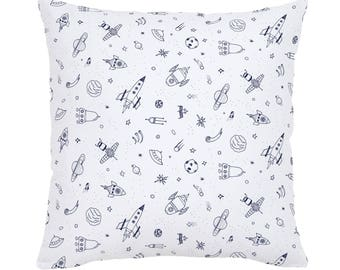 Windsor Navy and White Rockets Throw Pillow by Carousel Designs. Made in the USA.