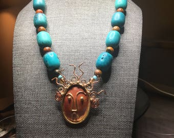 Turquoise And Copper Necklace With Copper Medallion