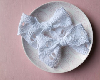 Lacy- Lace Bows | Classic Bows | Baby headband | Nylon Headbands | Baby hair bows | Spring | Hair Bows | Hair Clips