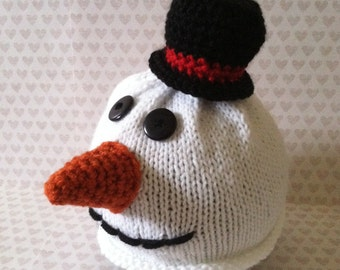 Knit Snowman Hat with Top Hat 3-6 month size