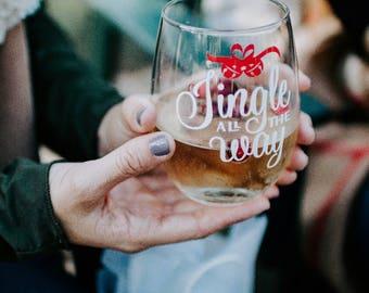 Jingle All The Way   Wine Glass