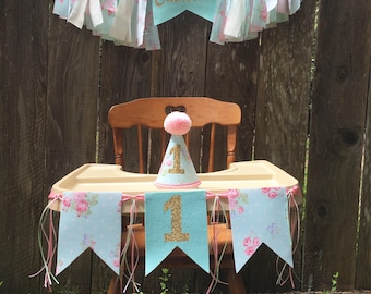 First birthday hat - birthday party banner -floral party hat - 1st birthday party hat - first birthday - hat and banner - flower print