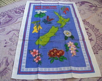 New Zealand Native Flowers Towel/Fabric for Crafts, Map of New Zealand, New Towel/Fabric for Crafting Sewing