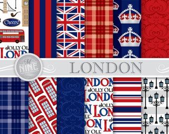 London Digital Paper / LONDON Pattern Prints / London Theme Printable Downloads, London Patterns British Theme DIY Scrapbook Paper
