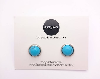 Turquoise and silver stainless steel round studs earrings//Hypoallergenic turquoise gemstone 8 mm//Turquoise stud minimalist//Small earrings