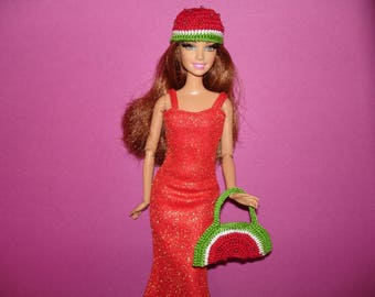 Barbie doll clothes Barbie birthday outfit  Barbie doll clothes Barbie accessory   Barbie hat  Barbie bag    Crochet handmade barbie clothes