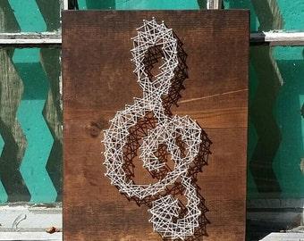 String Art Music Note, String Art Treble Clef, Nail Art Music Note, Music Wall Art, Wood Home Decor, Music Teacher Gift, Custom Made Sign
